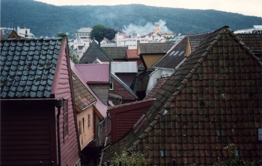 Bergen, les toits de Bryggen